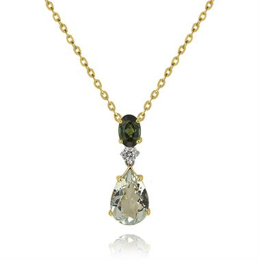 Sweet Pea 18ct Yellow Gold Tourmaline, Amethyst and Diamond Necklace thumbnail