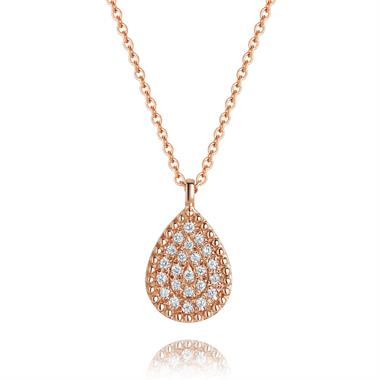 18ct Rose Gold Diamond Pear Necklace thumbnail