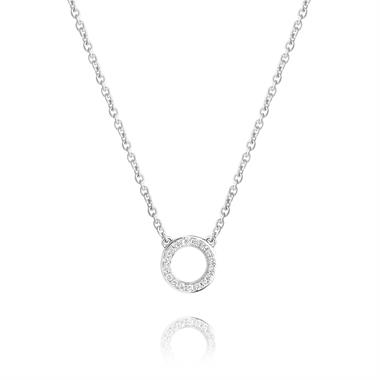 18ct White Gold Diamond Circle Necklace thumbnail
