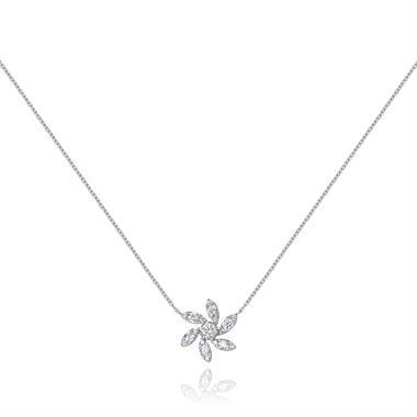Flower 18ct White Gold Diamond Necklace thumbnail