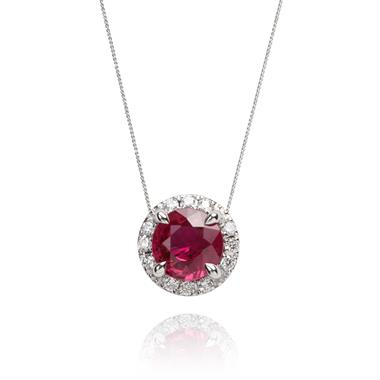Camellia 18ct White Gold Ruby and Diamond Necklace thumbnail