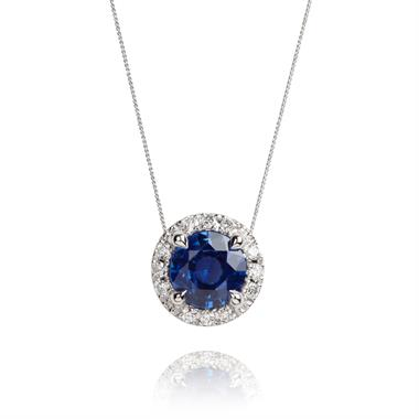 Camellia 18ct White Gold Sapphire and Diamond Necklace thumbnail