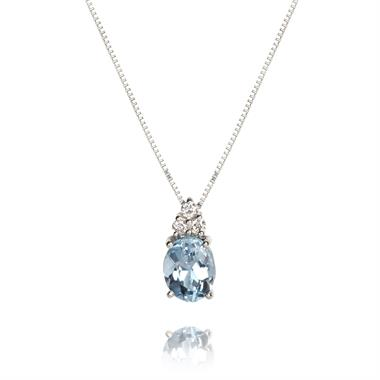 18ct White Gold Oval Aquamarine and Diamond Necklace thumbnail