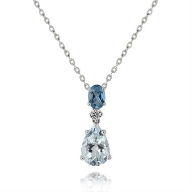Sweet Pea 18ct White Gold Aquamarine, Blue Topaz and Diamond Necklace thumbnail