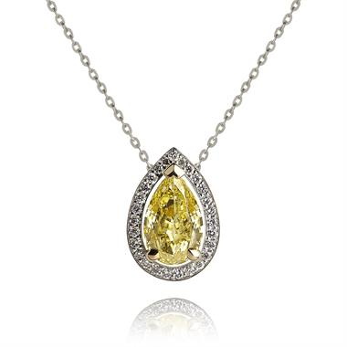 18ct White Gold Pear Shape 0.50ct Yellow Diamond Necklace thumbnail