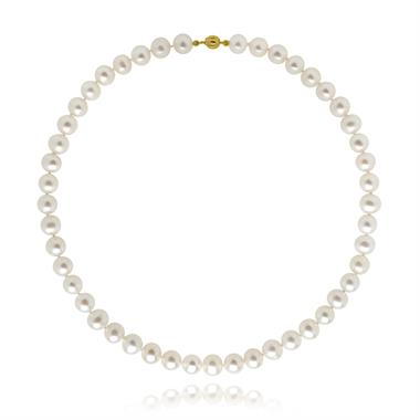 18ct Yellow Gold Classic White Freshwater Pearl Necklace 8mm thumbnail