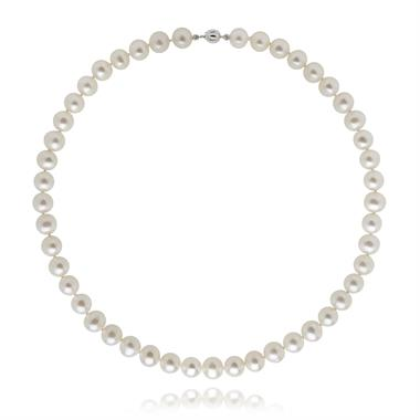 18ct White Gold Classic Freshwater Pearl Necklace  45cm thumbnail