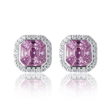 Odyssey 18ct White Gold Pink Sapphire Earrings