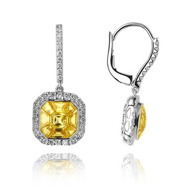 Odyssey 18ct White Gold Yellow Sapphire Earrings