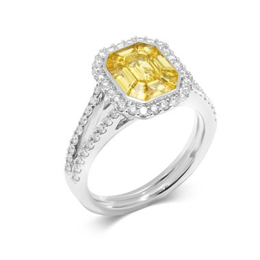 Odyssey 18ct White Gold Yellow Sapphire Ring