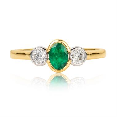 18ct Yellow Gold Emerald and Diamond Three Stone Ring thumbnail