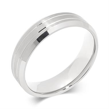 Palladium Brushed and Grooved Wedding Ring thumbnail