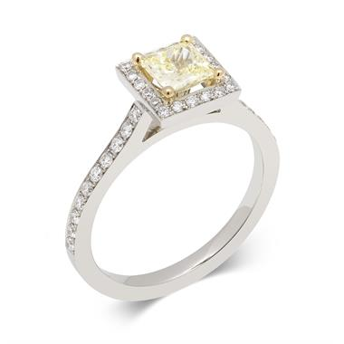 Platinum Princess Cut Yellow Diamond Halo Engagement Ring 0.83ct thumbnail