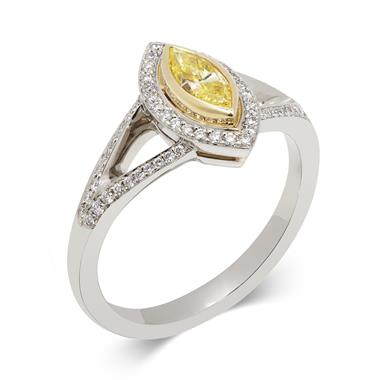 Platinum Art Deco Marquise Cut Yellow Diamond Cluster Ring thumbnail