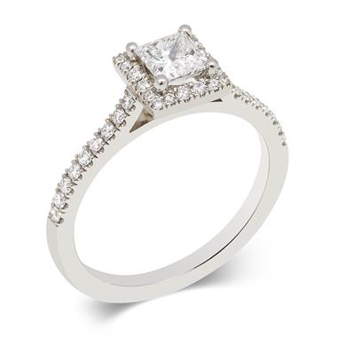 Platinum Vintage Inspired Princess Cut 0.77ct Diamond Ring thumbnail