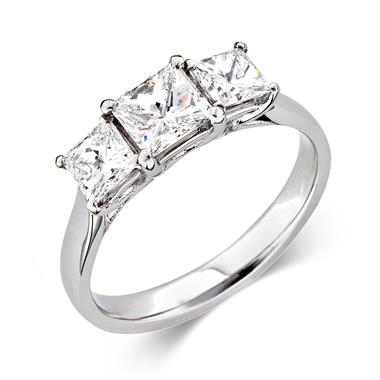 Platinum Modern Princess Cut 1.50ct Diamond Three Stone Ring thumbnail