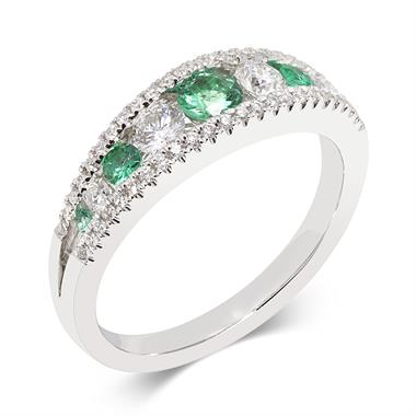 18ct White Gold Emerald and Diamond Eternity Ring thumbnail