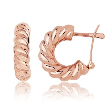 18ct Rose Gold Twisted Hoop Earrings thumbnail