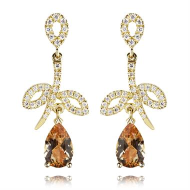 18ct Yellow Gold Flower Design Topaz and Diamond Drop Earrings thumbnail