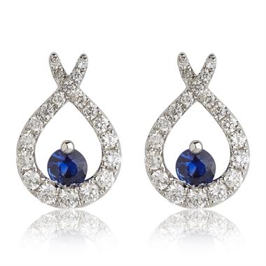 Keepsafe 18ct White Gold Sapphire and Diamond Stud Earrings thumbnail