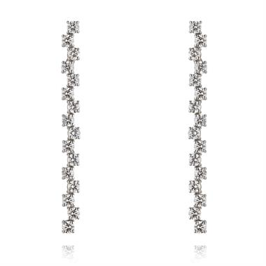 18ct White Gold Zig-Zag Bar Diamond Drop Earrings thumbnail