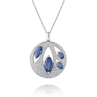18ct White Gold Blue Sapphire and Diamond Round Pendant thumbnail
