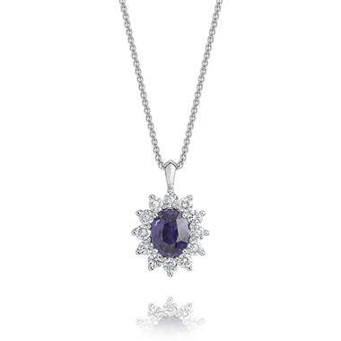 18ct White Gold Violet Sapphire and Diamond Cluster Pendant thumbnail