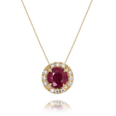 Camellia 18ct Yellow Gold Ruby and Diamond Necklace thumbnail