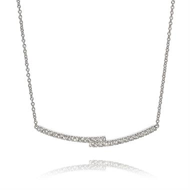 18ct White Gold Overlapping Bars Diamond Necklace thumbnail