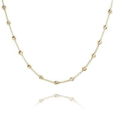 18ct Yellow Gold Faceted Bead Detail Station Necklace thumbnail