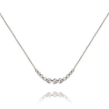 18ct White Gold Graduated Diamond Necklace thumbnail