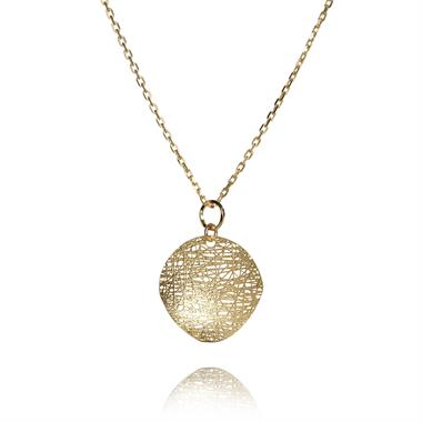 Sahara 18ct Yellow Gold 20mm Disc Necklace thumbnail