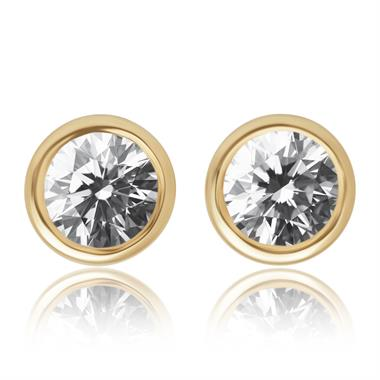 18ct Yellow Gold 0.25ct Rubover Diamond Stud Earrings thumbnail