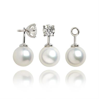 18ct White Gold Cultured Pearl Earrings Drop Enhancers thumbnail