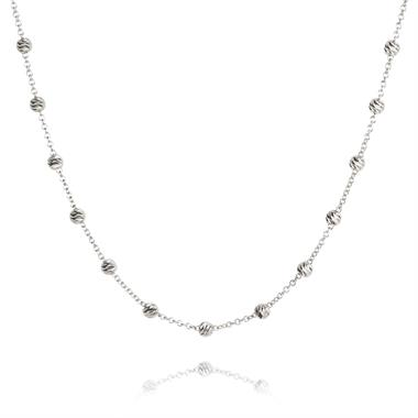 18ct White Gold Faceted Bead Detail Station Necklace thumbnail