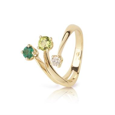 Carnival 18ct Yellow Gold Emerald, Peridot and Diamond Ring thumbnail