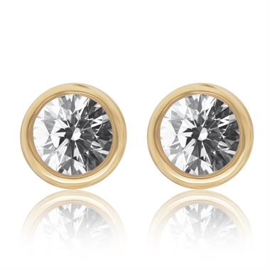 18ct Yellow Gold Diamond Solitaire Stud Earrings 0.25ct thumbnail