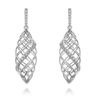 18ct White Gold Twisted Lattice Diamond Earrings thumbnail