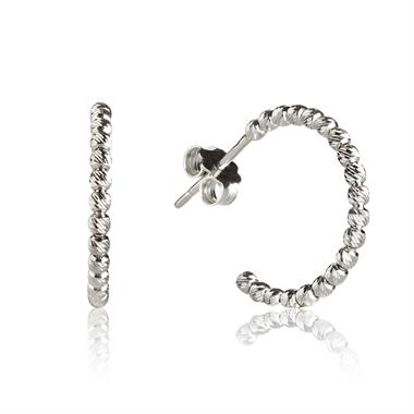 18ct White Gold Small Faceted Hoop Earrings thumbnail