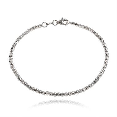 18ct White Gold Faceted Bead Detail Bracelet  thumbnail