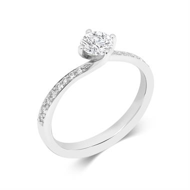 Platinum 0.75ct Diamond Twist Channel Set Solitaire Ring thumbnail