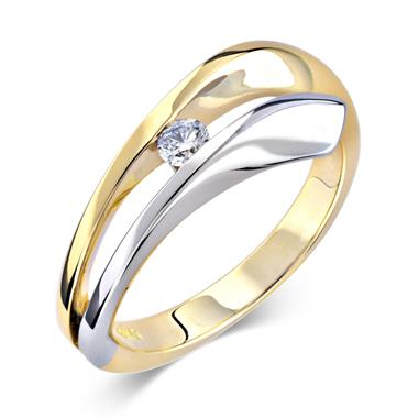 18ct Yellow and White Gold Wave Design Diamond Dress Ring 0.10ct thumbnail