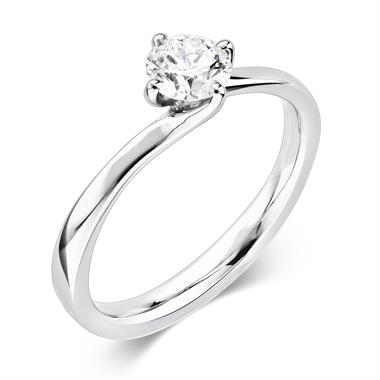 Platinum 0.50ct Diamond Twist Solitaire Ring thumbnail