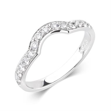 Platinum Diamond Set Shaped Wedding Ring 0.35ct thumbnail