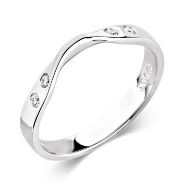 Platinum Diamond Set Shaped Wedding Ring 0.06ct thumbnail