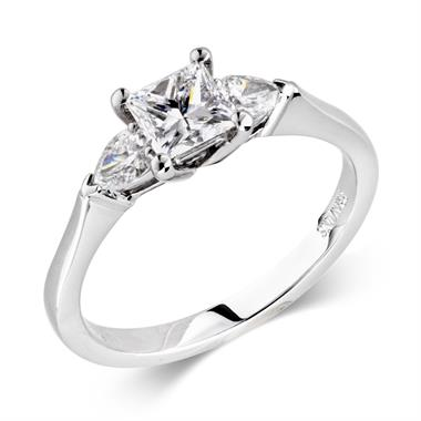Platinum Pear Princess Cut 0.76ct Diamond Three Stone Ring thumbnail
