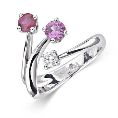 Carnival 18ct White Gold Ruby, Pink Sapphire and Diamond Ring thumbnail