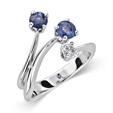 Carnival 18ct White Gold Two Sapphire and Diamond Ring thumbnail