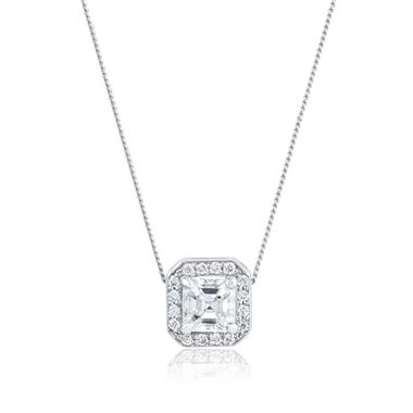 18ct White Gold Asscher Cut Diamond Necklace 0.35ct thumbnail