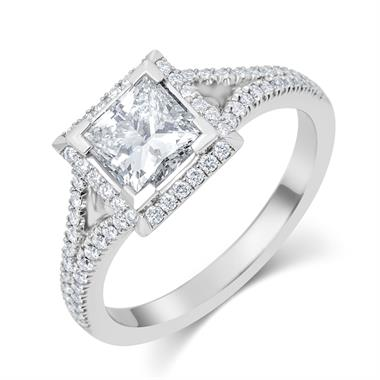 Platinum Split Shoulder Detail Princess Cut Diamond Halo Engagement Ring 1.65ct thumbnail